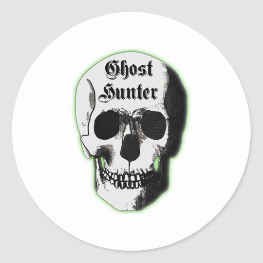 Ghost Hunter Skull Classic Round Sticker
