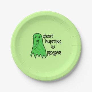 Ghost Hunting In Progress - Green Background Paper Plate