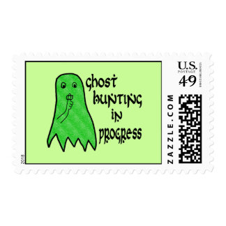 Ghost Hunting In Progress - Green Background Postage Stamp