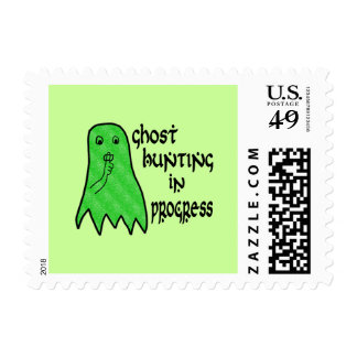 Ghost Hunting In Progress - Green Background Postage