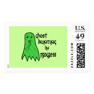 Ghost Hunting In Progress - Green Background Stamp