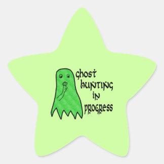 Ghost Hunting In Progress - Green Background Star Sticker