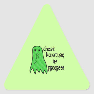 Ghost Hunting In Progress - Green Background Triangle Sticker