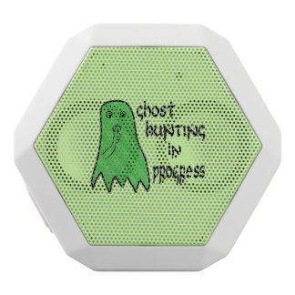 Ghost Hunting In Progress - Green Background White Bluetooth Speaker