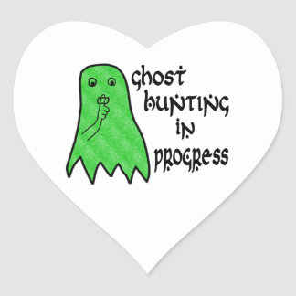 Ghost Hunting In Progress - Pick Background Color Heart Sticker