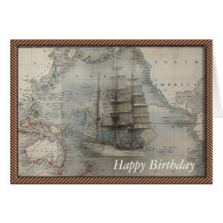 Ghost image of an old sailing vessel over a map card