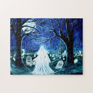 Ghost in a graveyard Halloween jigsaw puzzle