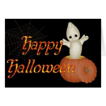 Halloween Themed Ghost in Pumpkin Happy Halloween Greeting Card