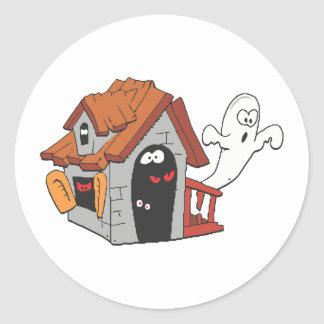 Ghost infested house classic round sticker