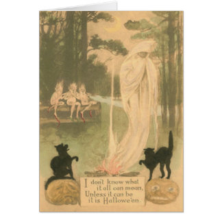 Ghost Jack O Lantern Black Cat Elves Greeting Card