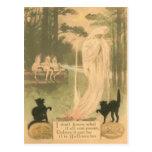 Ghost Jack O Lantern Black Cat Elves Postcard