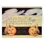Ghost Jack O Lantern Candles Vintage Halloween Card