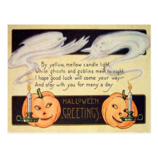 Ghost Jack O Lantern Candles Vintage Halloween Postcard
