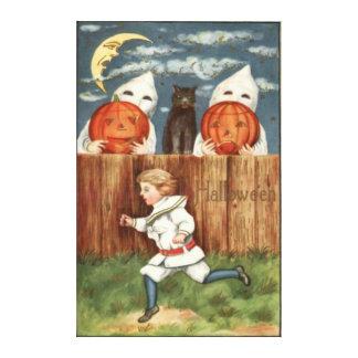 Ghost Jack O' Lantern Children Black Cat Canvas Print