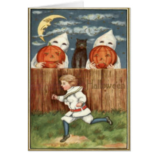 Ghost Jack O' Lantern Children Black Cat Card