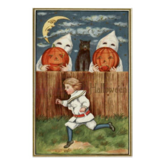 Ghost Jack O' Lantern Children Black Cat Print