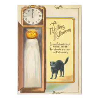 Ghost Jack O Lantern Grandfather Clock Black Cat Card