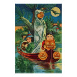 Ghost Jack O Lantern Owl Full Moon Poster