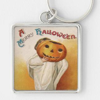 Ghost Jack O Lantern Pumpkin Child Silver-Colored Square Keychain