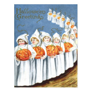 Ghost Jack O Lantern Pumpkin Costume Postcard
