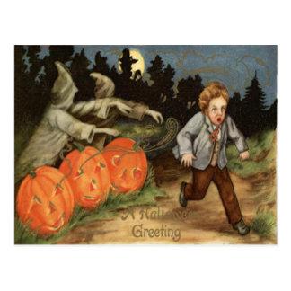 Ghost Jack O' Lantern Scared Boy Moon Postcard
