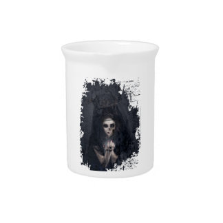 Ghost Lady Haunting Skull Skeleton Drink Pitcher