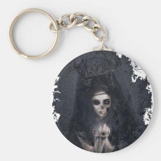 Ghost Lady Haunting Skull Skeleton Keychain