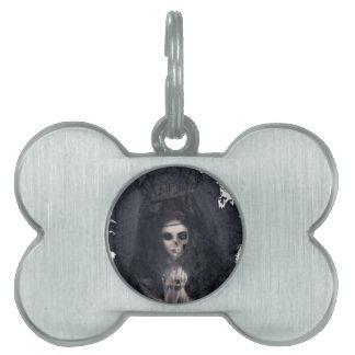 Ghost Lady Haunting Skull Skeleton Pet Name Tag