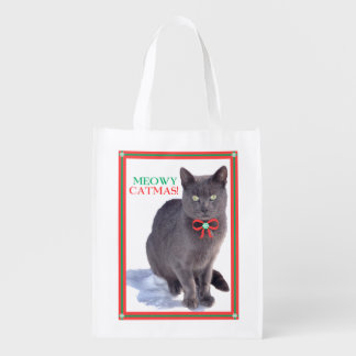 """Ghost"" Meowy Catmas Reusable Bag"