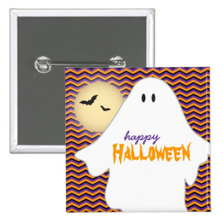 Ghost, moon and bats Happy Halloween Pin