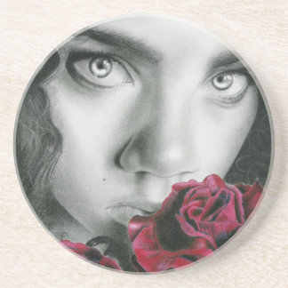 Ghost of a rose gothic  beauty Coaster