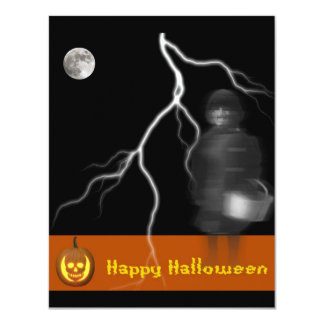 Ghost on Black Background Halloween Card/Invite Card