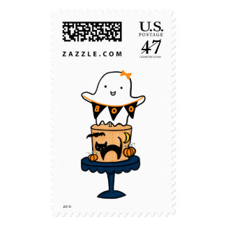 Ghost on Halloween Cake Postage