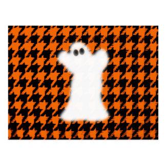 Ghost On Halloween Houndstooth Postcard