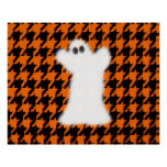 Ghost On Halloween Houndstooth Poster