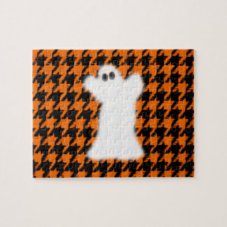 Ghost On Halloween Houndstooth Puzzles
