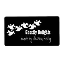 Ghost Party Halloween Baking Labels, Black Shipping Label