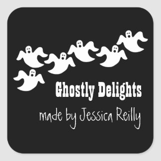 Ghost Party Halloween Baking Stickers, Black Square Sticker