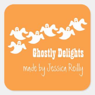 Ghost Party Halloween Baking Stickers, Orange Square Sticker