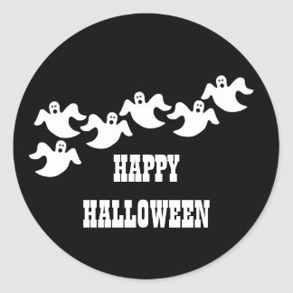 Ghost Party Halloween Stickers, Black Classic Round Sticker