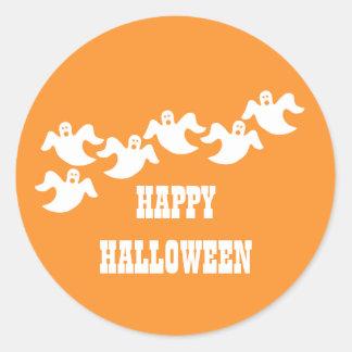 Ghost Party Halloween Stickers, Orange Classic Round Sticker