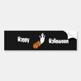 Ghost & Pumpkins Bumper Sticker