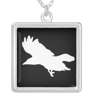 Ghost Raven Square Necklace