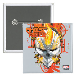 Ghost Rider Skull Badge Button