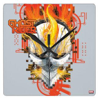 Ghost Rider Skull Badge Square Wall Clock