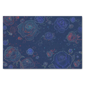 "Ghost Roses Sapphire Blue Tissue Paper 10"" X 15"" Tissue Paper"