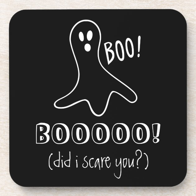 Ghost Saying Boo Did I Scare You Halloween Themed Coaster | Zazzle.com