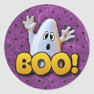 Ghost saying BOO Halloween Stickers