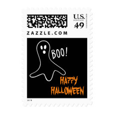 Ghost Saying Boo Happy Halloween Theme Postage