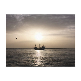 Ghost Ship at Sunset Canvas Print
